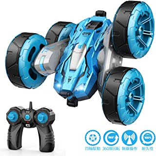 ラジコンカー Tomight リモコンカー 360度回転 四輪駆動 スタントカー 2.4GHz無線 両面走行特技 USB充電式 LED搭載 こども向け 簡単操作 玩具 贈り物