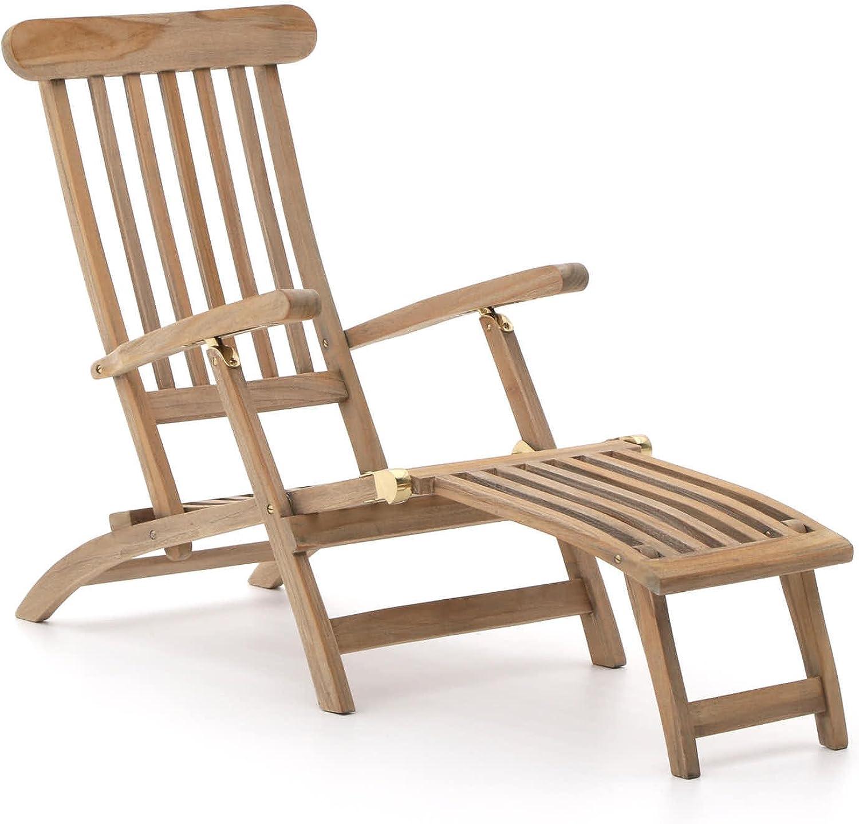 ROUGH Stabile X Deckchair klappbar  Teakholz Gartenliege mit Futeil  Sonnenliege aus behandeltem Teakholz, für Garten oder Balkon  Wetterfest, pflegeleicht, klassisches Aussehen und ohne Auflage