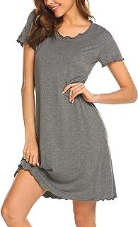 قميص نوم للنساء من إكوير بأكمام قصيرة ودرزات مكشكشة، قمصان نوم ناعمة ملابس نوم مريحة