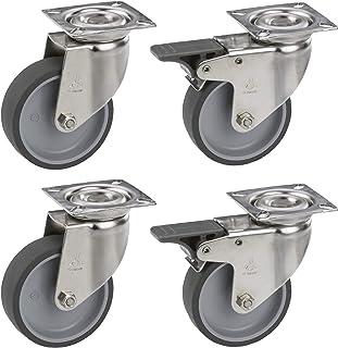 Dörner + Helmer Dörner & Helmer 450260, 4 stuks, 2 x met rem, TPE-wiel, plaat 60 x 60 mm, draagkracht 150 kg, meubelwiele...