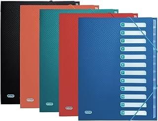 Elba Urban Lot de 10 classeurs Format A4 en plastique avec 12 compartiments 5 Couleurs opaques 12 Fächer couleurs assorties