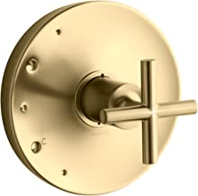 KOHLER TS14423-3-BGD Purist Rite-Temp Valve Trim with Cross Handle, Vibrant Moderne Brushed Gold