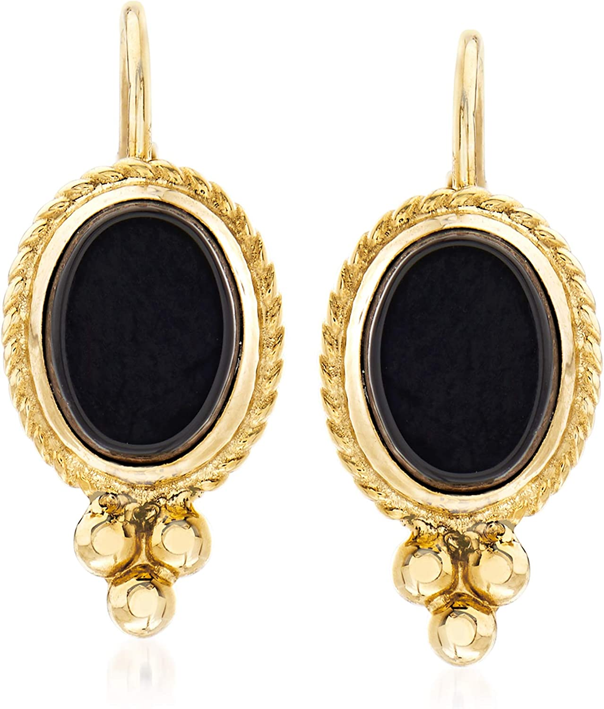 Ross-Simons Black Onyx Twist-Edge Earrings in 14kt Yellow Gold