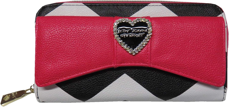 Betsey Johnson Zip Around Bow Wallet Black Multi