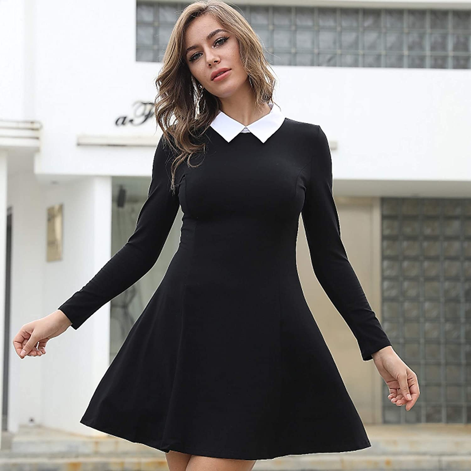 Aphratti Women's Long Sleeve Casual Peter Pan Collar Fit and Flare Skater Dress