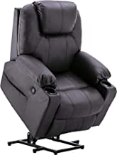 Mcombo Electric Power Lift Recliner Chair Sofa with Massage and Heat for Elderly, 3 Positions, 2 Side Pockets and Cup Holders, USB Ports, Faux Leather 7040 (Black)