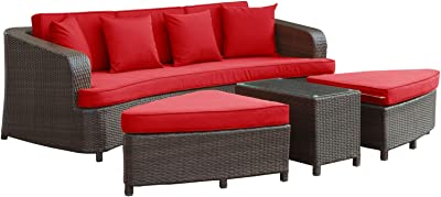 Modway Monterey Wicker Rattan 4 Piece Outdoor Patio Sectional Sofa Furniture Set With Cushions In Brown Red Garden Outdoor