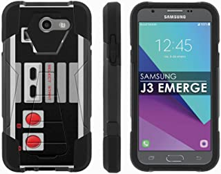Samsung Galaxy J3 Emerge [2017] Mil-Spec [Mobiflare] [Black/Black] Dual Layer Armor Case [Kickstand] [Screen Protector] - [NES Video Game Controller] for Galaxy [2017] [J3 Emerge] [5