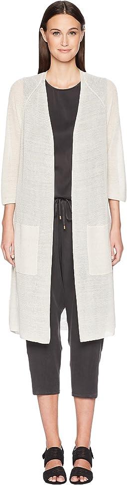 Fine Organic Linen Tie-Front Cardigan