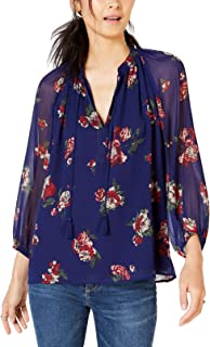 Lucky Brand Women's Allover Floral Peasant Top
