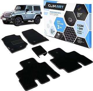 CLIM ART Honeycomb Custom Fit Floor Mats for Jeep Wrangler 2014-2018, 1&2 Row, Car Mats Floor Liner, All-Weather, Car Accessories for Man & Woman, Black/Black - FL011307090