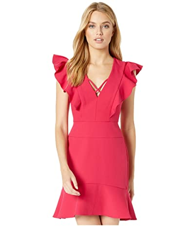BCBGMAXAZRIA Short Ruffle Dress with Lace-Up Detail (Sangria) Women