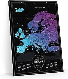 Travel Map Region (Europe) トラベルマップ リージョン ヨーロッパ スクラッチ世界地図 旅行 ポスター 60×40cm