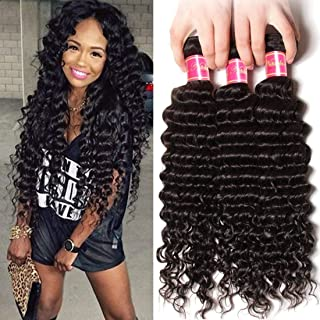 Nadula 8a Remy Virgin Brazilian Deep Wave Human Hair Extensions Pack of 3 Unprocessed Deep Wave Weave Natural Color Mixed Length 12inch 14inch 16inch