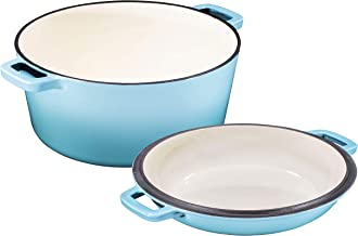 2 in 1 Enameled Cast Iron Double Dutch Oven & Skillet Lid, 5-Quart, Induction, Electric, Gas & In Oven Compatible, Enamele...