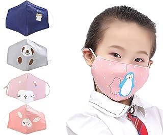 4Pcs Pack Kids Reusable Bandanas Breathable Cute Print Cotton Face Cover For Children