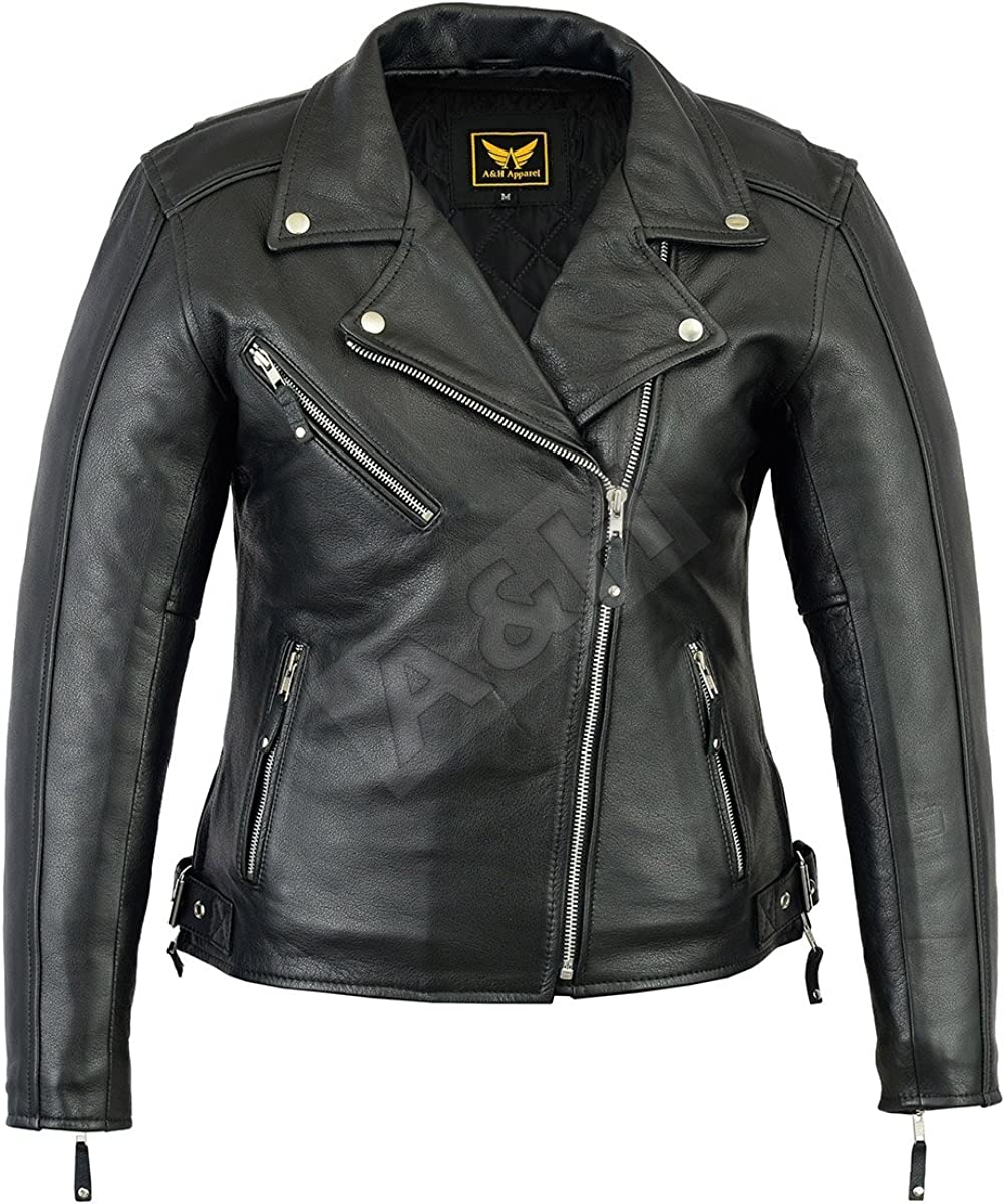 A&H Apparel Womens Motorcycle Leather Jacket Cowhide Casual Leather Jacket