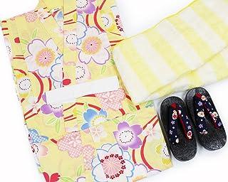 【女の子浴衣3点セット(100)】【クリームがかった黄色系/黄色系】3?4歳 兵児帯 下駄 キッズ ガールズ