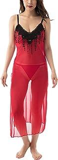 Lola Dola Women Mesh Net Floral Baby Doll Sleepwear Lingerie Nightwear with G-String Panty (RedBlack, Free Size)