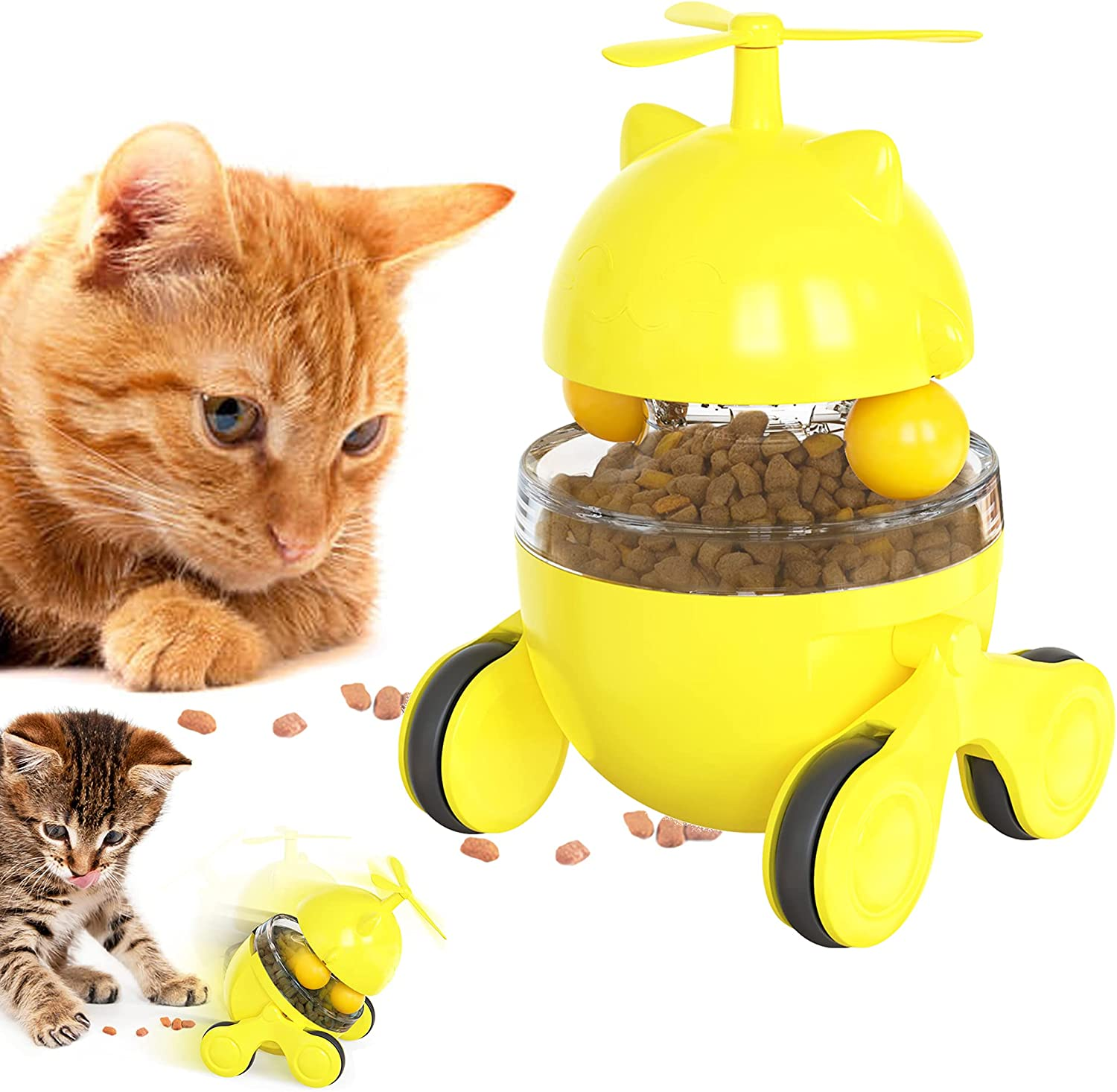 Cat Food Dispenser Treat Toys, Interactive Slow Feeder Pet Ball for Kitten with Tumbler Car Design, Funny Leaking Food Training and Relieve Anxiety, Reduce Boredom, Yellow