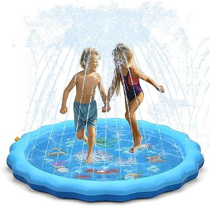 """Sprinkler for Kids, 68"""" Sprinkle and Splash Play Mat + Kiddie Pool"""