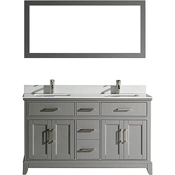 Vanity Art 60 Inches Single Sink Bathroom Vanity Set White Super Phoenix Stone Top 7 Drawers 1 Shelf Undermount Rectangle Sink Cabinet With Free Mirror Va1060 G Amazon Com