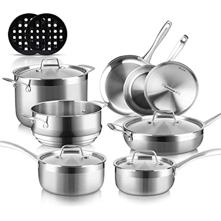Duxtop Whole-Clad Tri-Ply Stainless Steel Induction Cookware Set, 14PC Kitchen Pots and Pans Set