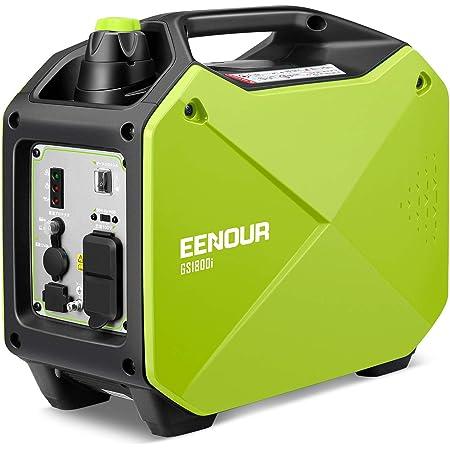 EENOUR インバーター発電機 GS1800i 定格出力1.4kVA 正弦波 防音型 PSE認証 高出力 静音 ガソリン発電機 ポータブル発電機 AC/DC/USB出力 50Hz/60H切替 24ヶ月保証