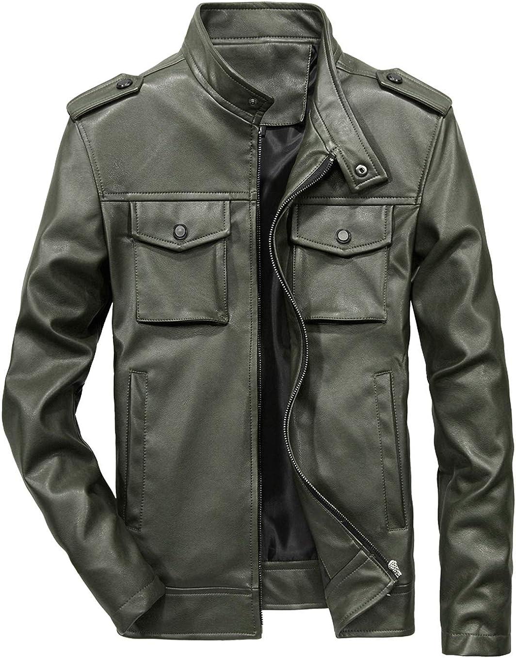 chouyatou Men's Military Stylish Zip-Front Max 63% OFF Faux Slim Ranking TOP1 Leathe Moto