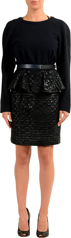 Viktor & Rolf Wool Black Belted Women's Sheath Dress US S IT 40