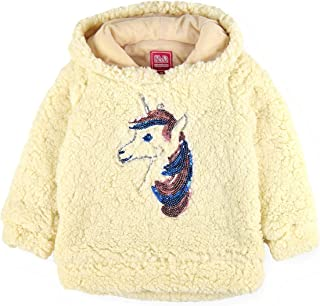 RND Girls' Unicorn Sequin Sherpa Fleece Hoodie