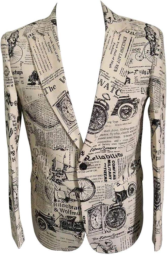 HBDesign Men 1 Piece 1 Button Fashion Printed Suit Jackets