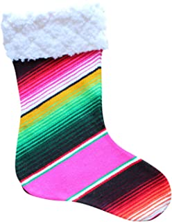 Del Mex Mexican Serape Christmas Stocking from Mexican Serape Blanket (Pink)