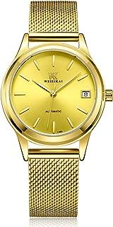Luxury Ladies Simple Slim Analog Waterproof Mechanical Stainless Steel Mesh Band Wrist Watches for Woman