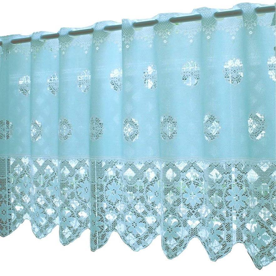 天アプライアンス秀でる【メール便 送料無料】 カフェカーテン スイートカラー 14222 ブルー 50cm丈 × 巾130cm (ウォッシャブル)