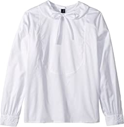 Bow Front Long Sleeve Blouse (Little Kids/Big Kids)