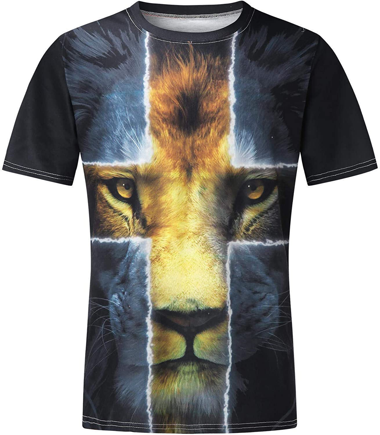WOCACHI Soldier Short Sleeve T-shirts for Mens, Fall Street Faith Jesus Cross Lion Print Workout Athletic Tee Tops