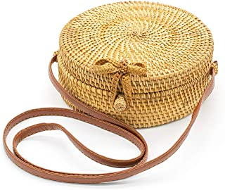 Women Handwoven Round Shoulder Rattan Bag