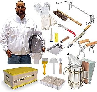 TOPQSC Bijenteelt Gereedschapskit, Bijenteelt Supplies 15 stuks, Deluxe Beekeeper Starter Kit, Bijenteelt Jacket XL, Bijen...