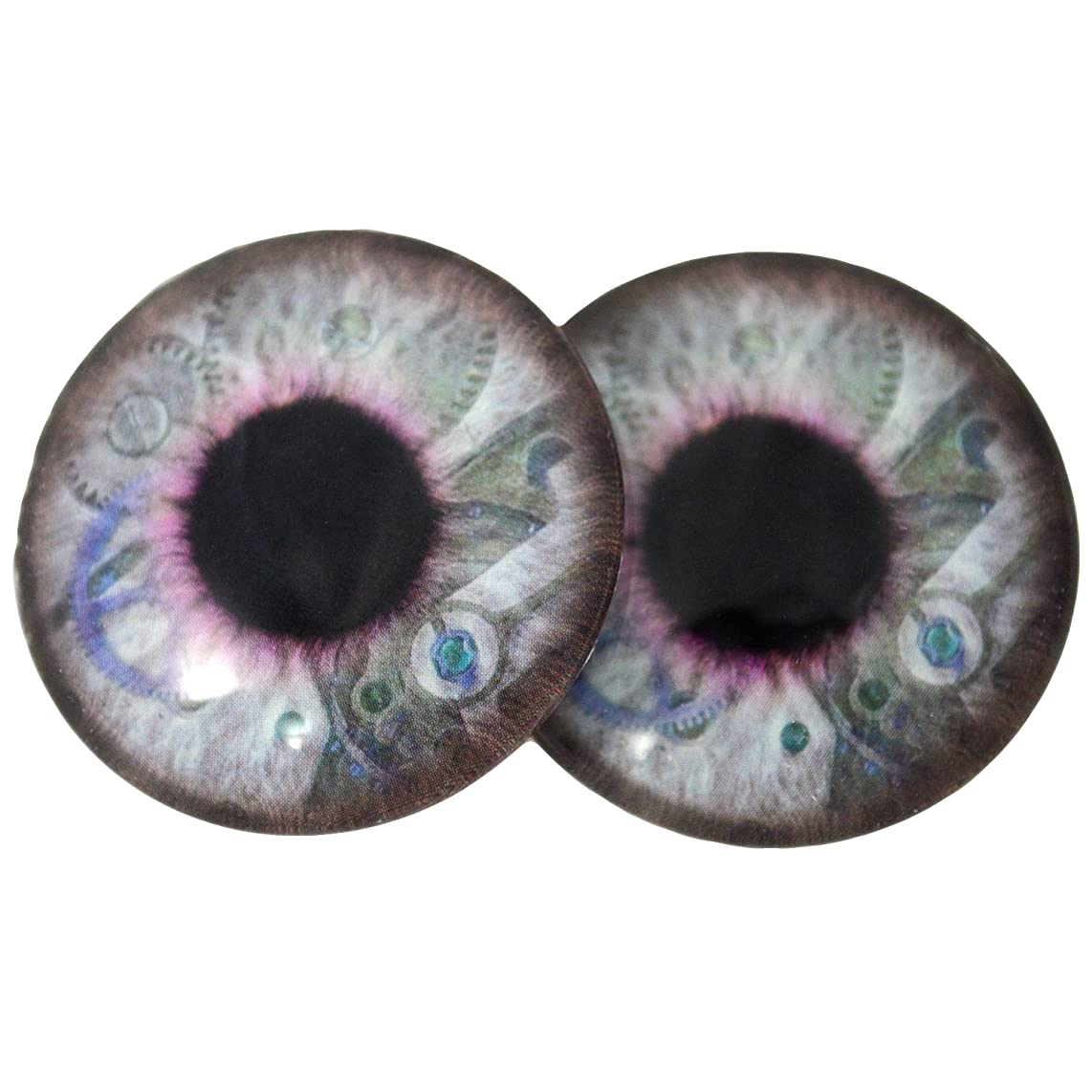 Big 40mm Steampunk Glass Eyes in Blue and Purple with Clockwork Details Iris Crafting Supply Flatback Cabochons for Art Doll Taxidermy or Jewelry Making