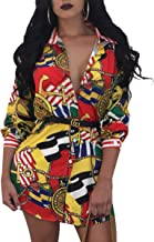 Misschicy Womens Long Sleeve Button Down Shirt Mini Dresses