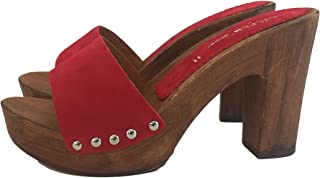 Silfer Shoes - Zoccolo in Vera Pelle di camoscio, Colore Rosso.Ideale Anche per Stare in casa