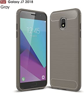 Protective Case Compatible with Samsung Compatible Samsung Galaxy J7 Ultra Light Carbon Fiber Armor Shockproof Brushed Silicone Grip Case Phone case (Color : Gray)