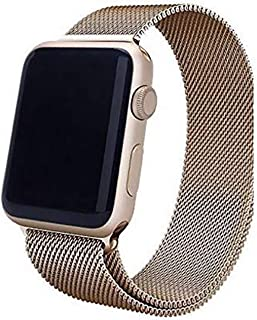 Stainless Steel Band Strap with Screen Protector for 42mm Apple Watch, Gold