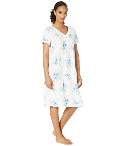 Carole Hochman Soft Jersey Short Sleeve Waltz Gown (White/Aqua Floral) Women