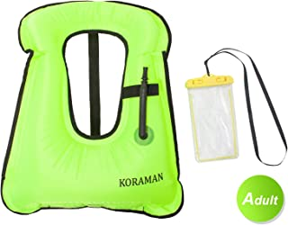 KORAMAN Fast Inflatable Snorkel Vest Compact for Swimming Free Diving Safety-Life Jacket for Adult Child + Waterproof Phone Pouch