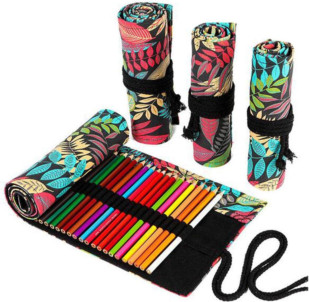 FZBNSRKO Colorful Rare Print Purchase Pencils Case U Wrap Roll Travel Portable