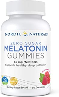 Nordic Naturals Zero Sugar Melatonin Gummies, Raspberry - 1.5 mg Melatonin - 60 Gummies - Great Taste - Restful Sleep, Ant...