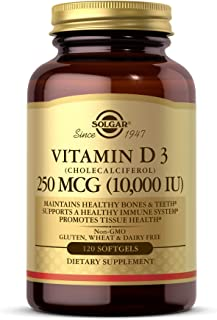 Solgar Vitamin D3 (Cholecalciferol) 250 MCG (10,000 IU), 120 Softgels - Helps Maintain Healthy Bones & Teeth - Immune Syst...