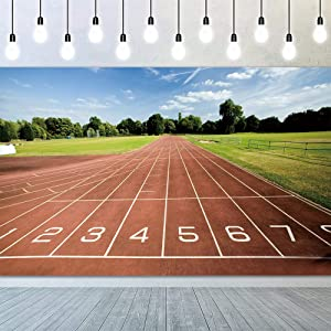 YongFoto 7x5ft Running Track Backdrop Red Runway Green Lawn Playground Background for Photography School Track and Field Athletics Decor Banner